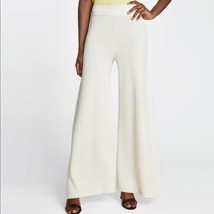 ZARA Off-White Knit Palazzo Trousers